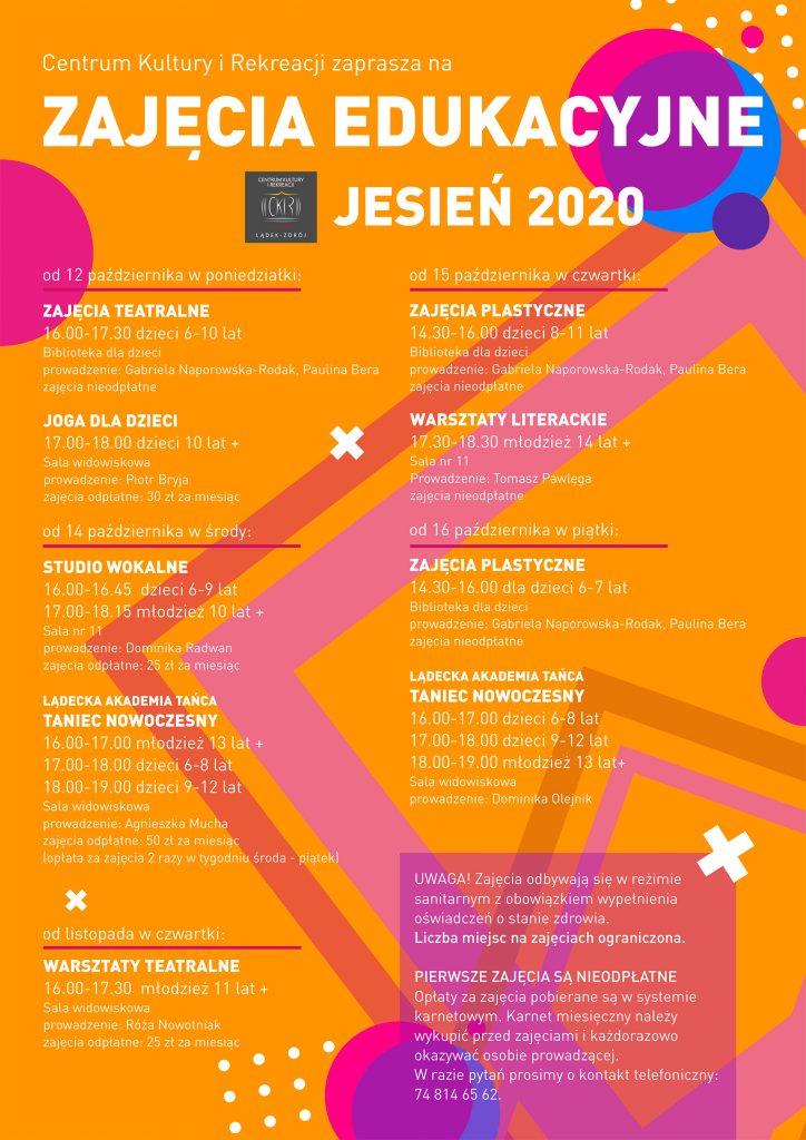 Plakat - zajęcia edukacyjne CKiR sezon 2020/2021